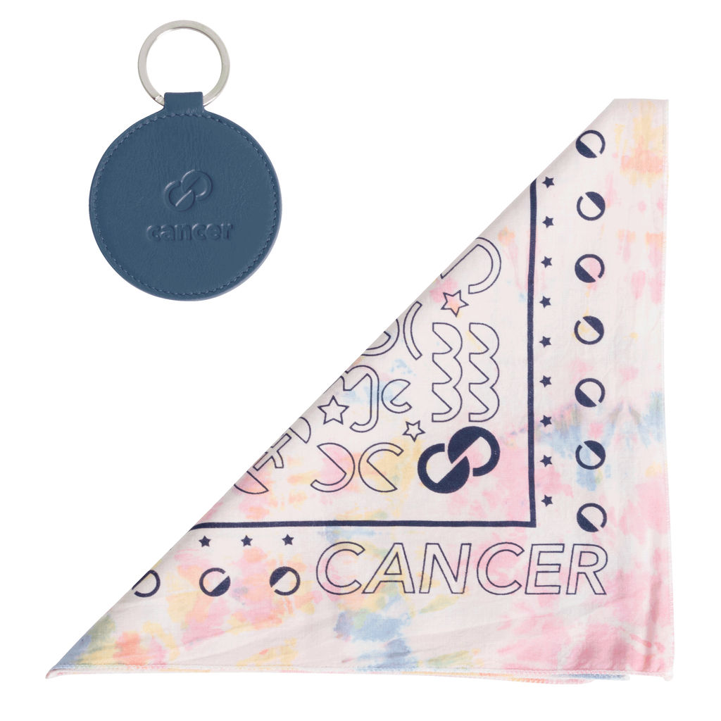 DOOZ Cancer Bandana + Keychain Set in Tie Dye