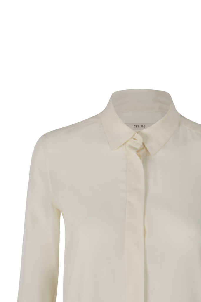Celine Silk White Button Up Shirt