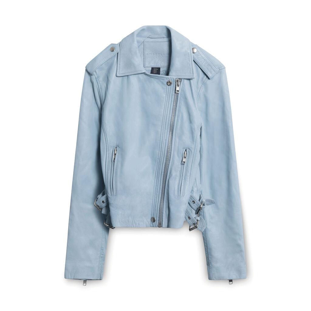 AMARYLLIS Genuine Soft Leather Moto Jacket - Light Blue