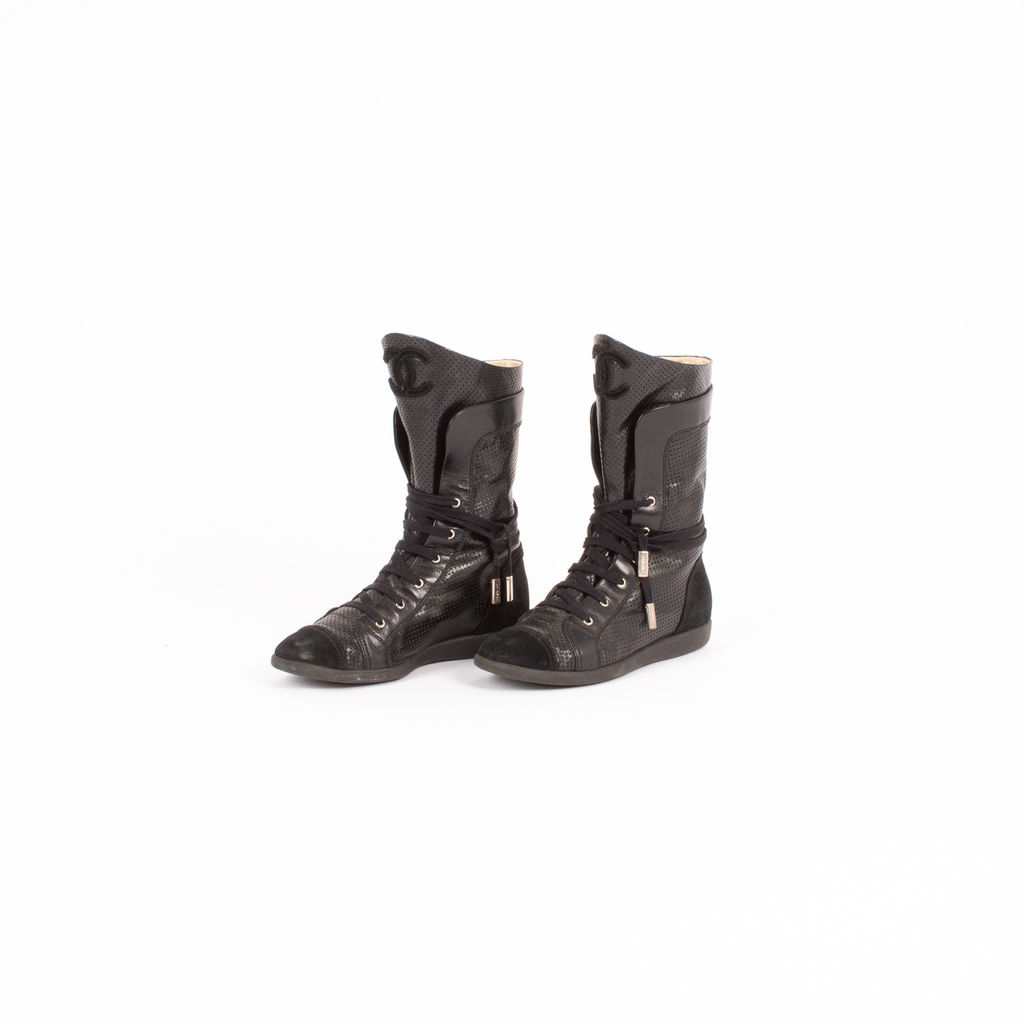 Chanel Perforated Leather Boots