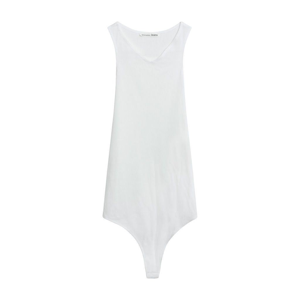 Reformation Audri Sleeveless Bodysuit in White