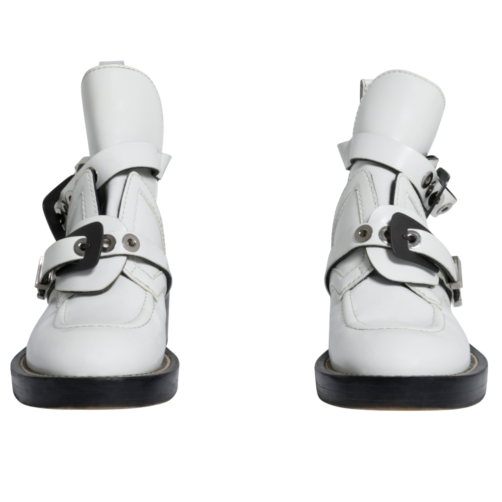 Balenciaga Ceinture Leather Ankle Cut Out Combat Boots in White
