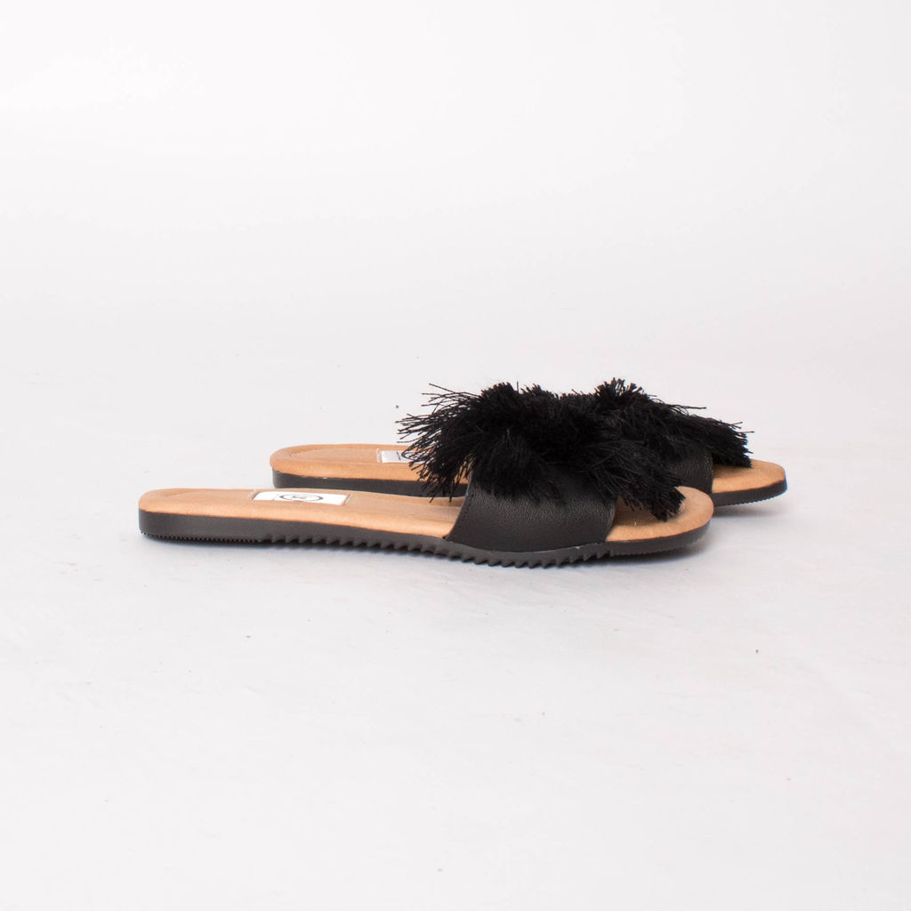 I.X. Black Pom Pom Sandals