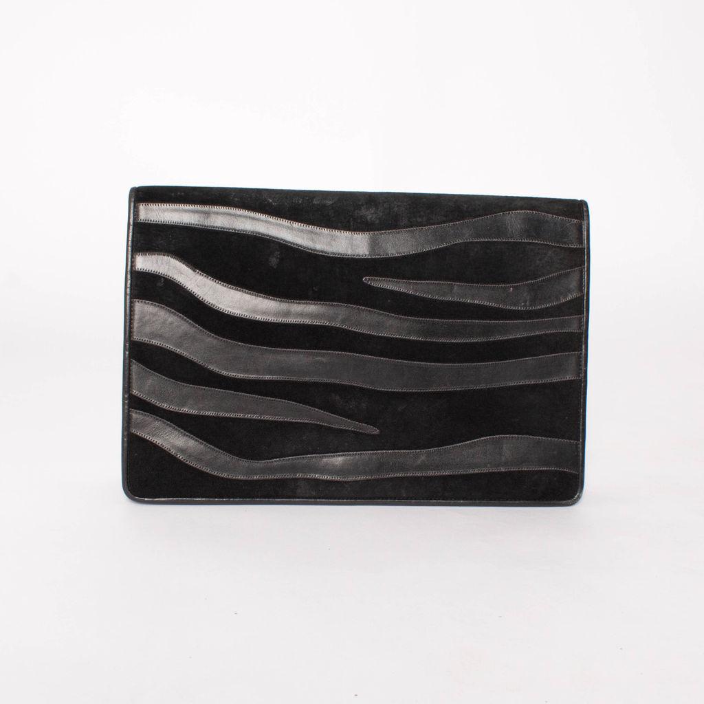 Vintage Anne Klein Suede And Leather Zebra Clutch