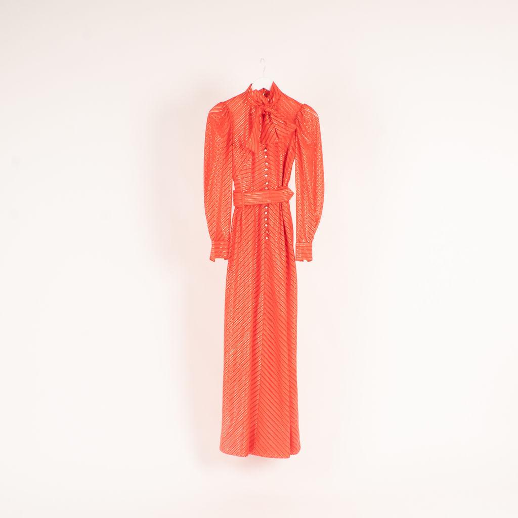 Vintage Chevron Stripe Patterned Maxi Dress