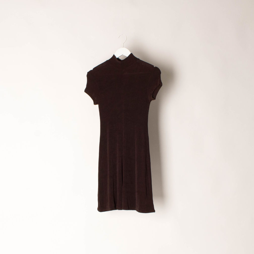 90s Vintage BCBG MAXAZRIA Vintage Brown Mock Neck Dress