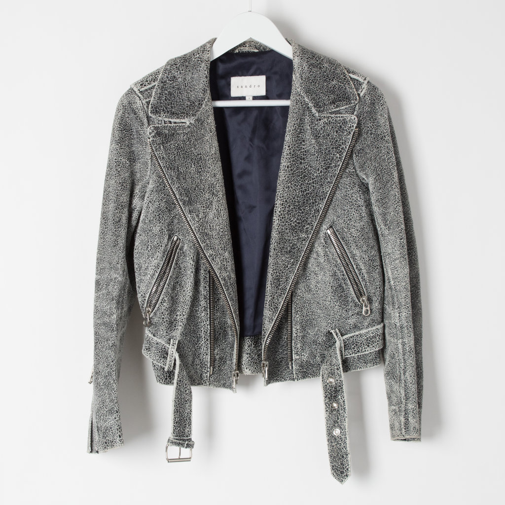 Sandro Cracked Leather Moto Jacket curated by Sophia Amoruso