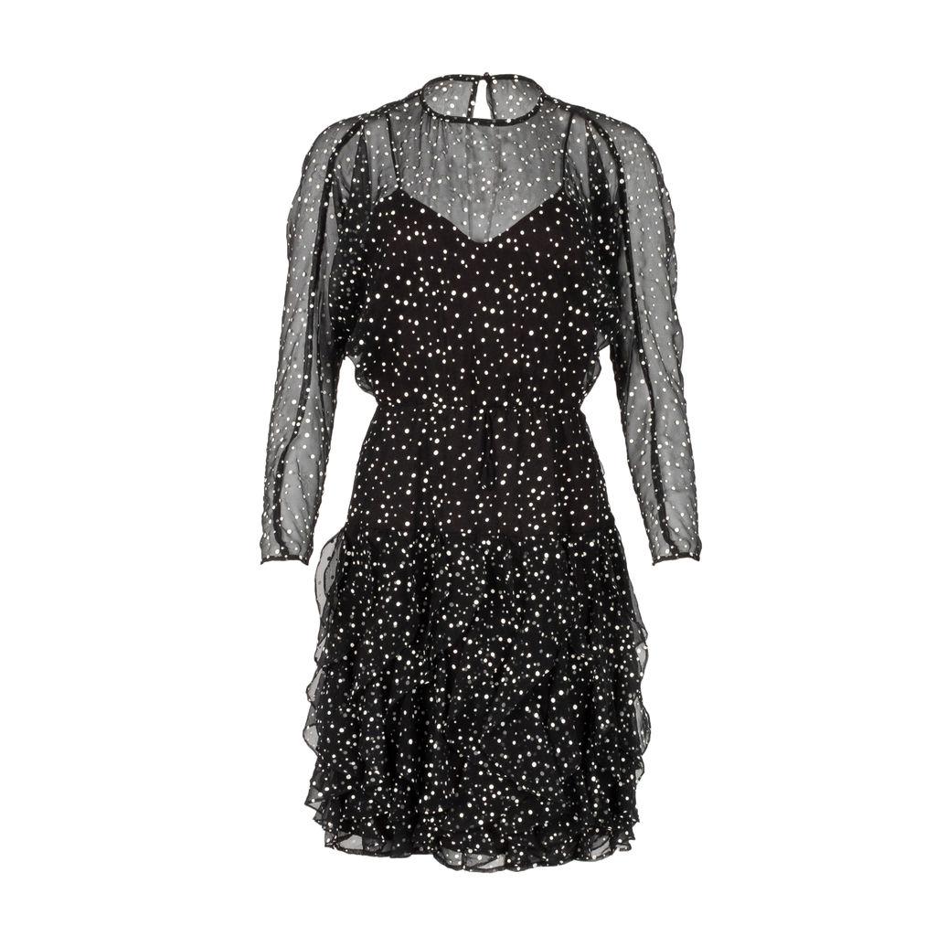 Vintage Polka Dot Waterfall Ruffle Dress