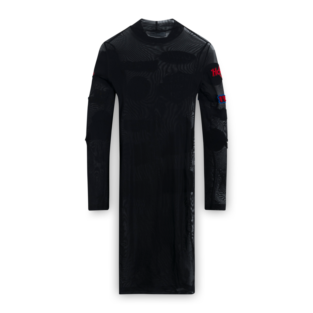 GCDS Black Mesh Dress with Patches
