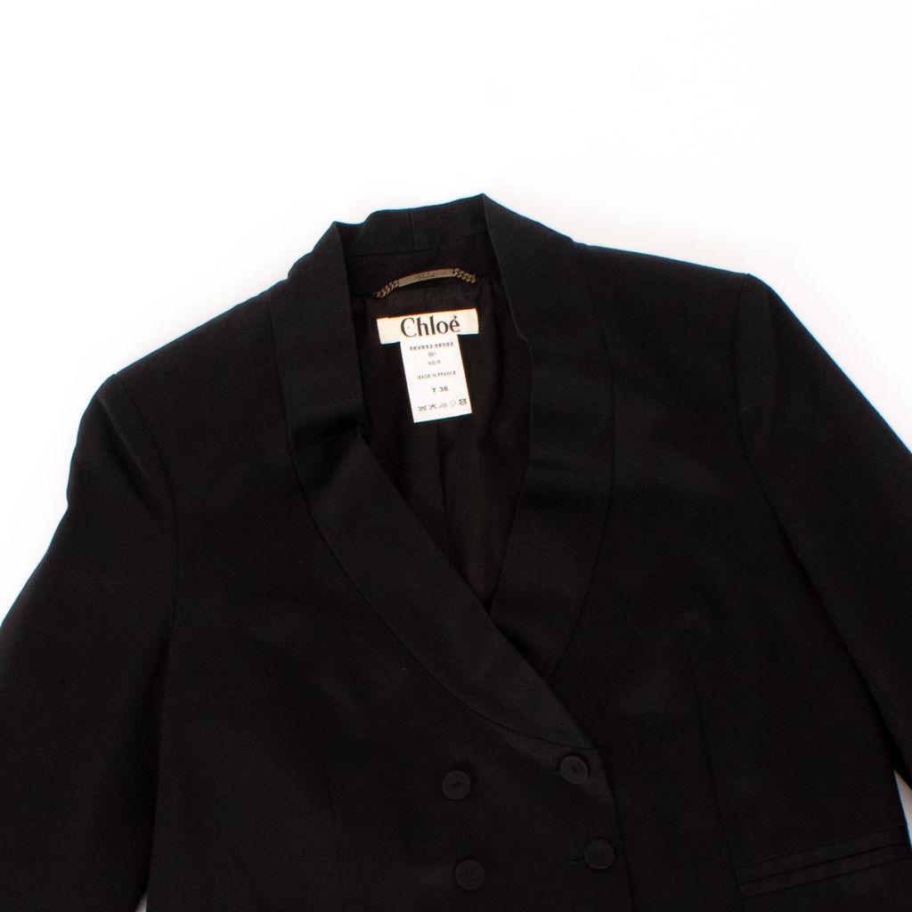 Chloe Black Double-Breasted Cropped Tuxedo Blazer