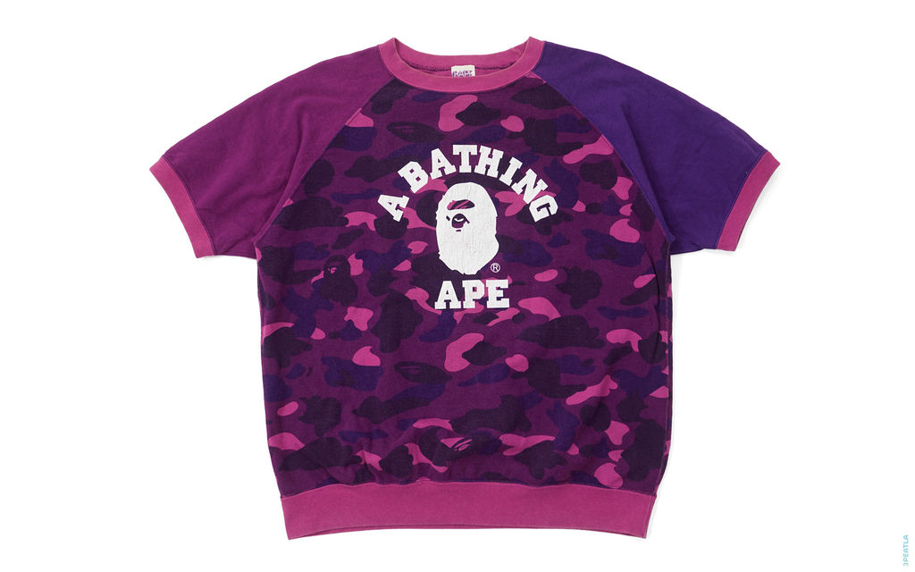 BAPE Crazy Color Camo College Logo Short Sleeve Crewneck Sweatshirt purple