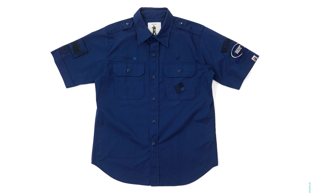 BAPE Color Camo Accent Logo Applique Short Sleeve Button-Up Work Shirt navy