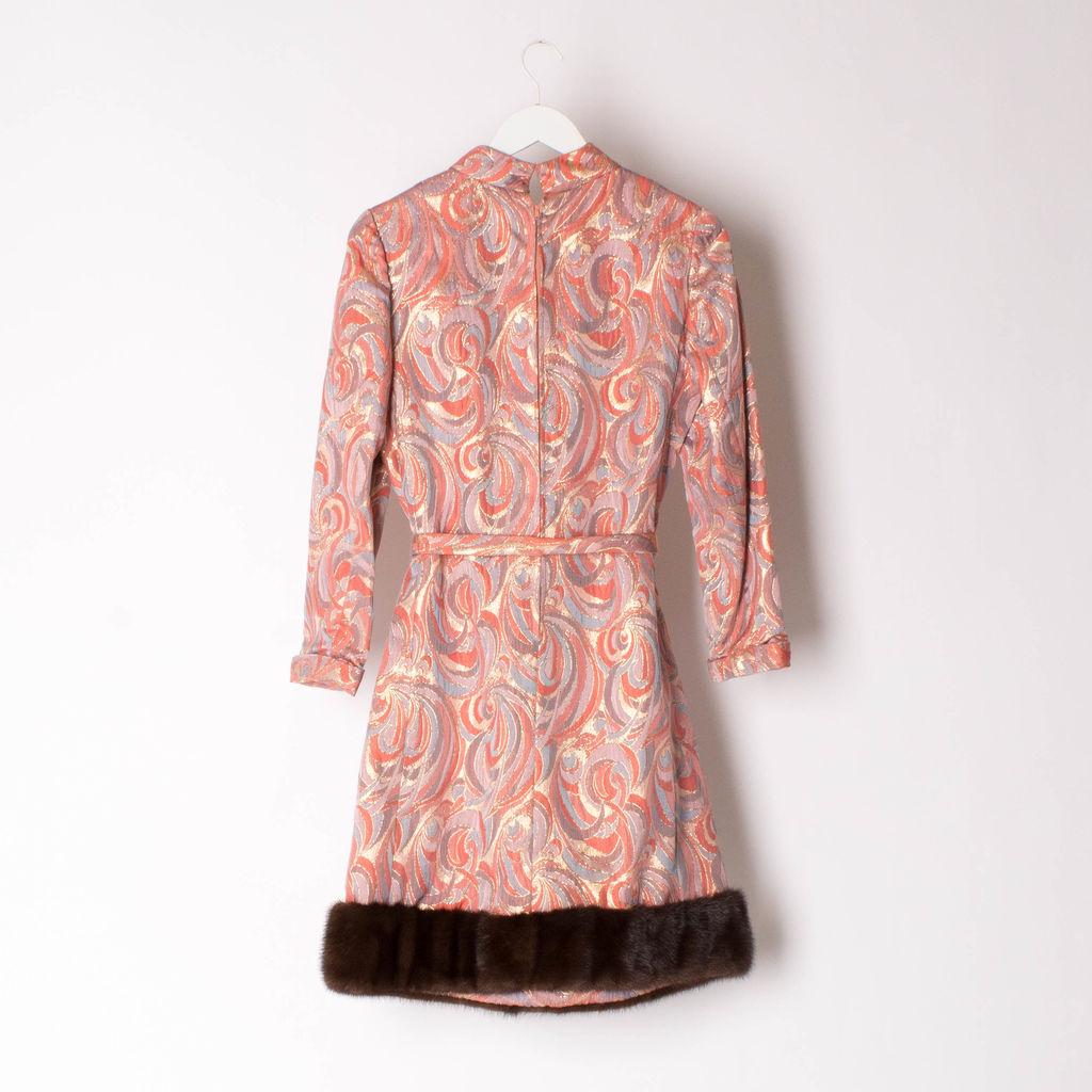 Vintage Coplin's Mink Fur-Trimmed Brocade Dress