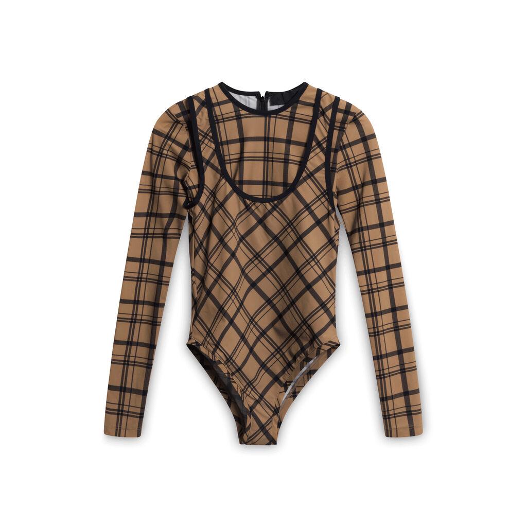 Markoo Plaid Bodysuit - Brown