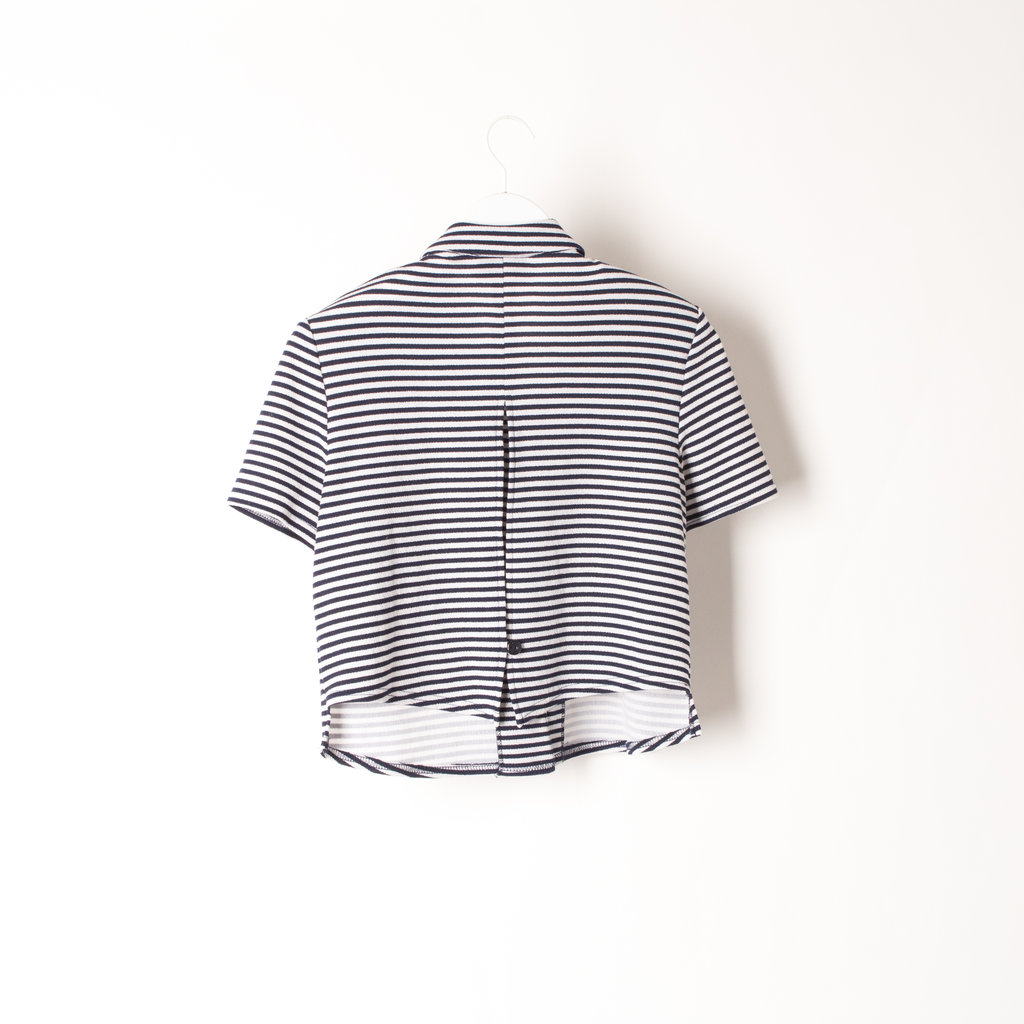 Vintage White & Navy Blue Striped Short-Sleeve Crop Top