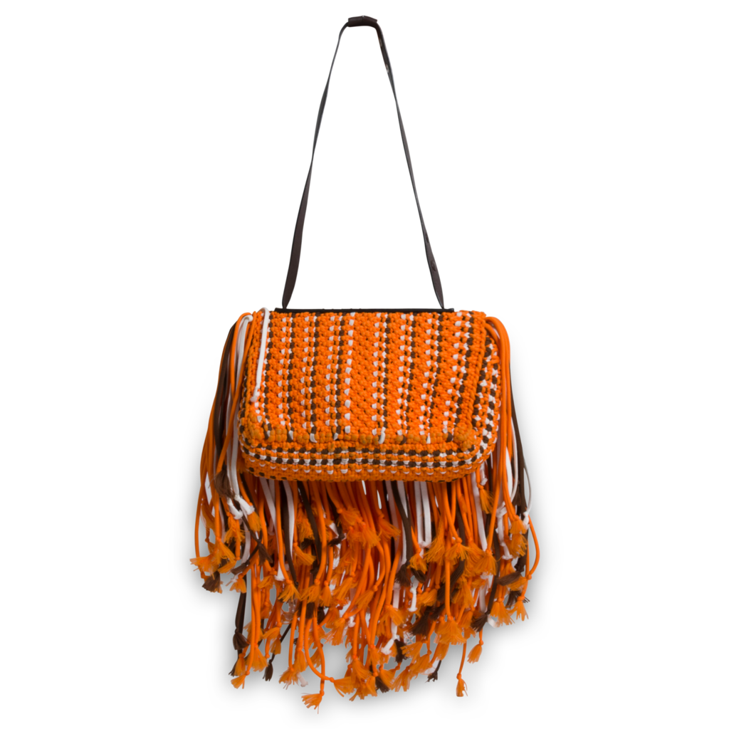 Emilio Pucci Orange Fringed Leather-Trimmed Macrame Shoulder Bag
