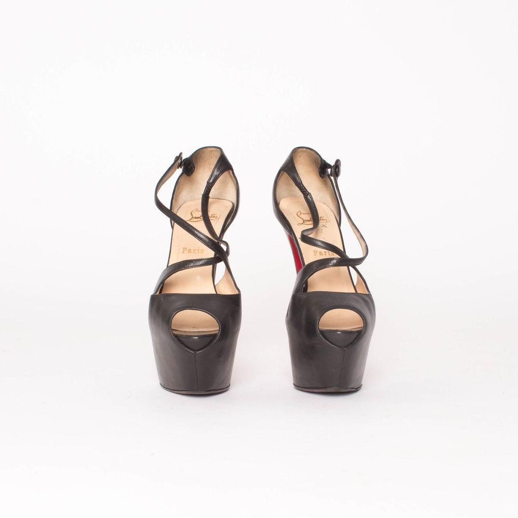 Christian Louboutin Black Exagona Leather Criss-cross Platform Sandals
