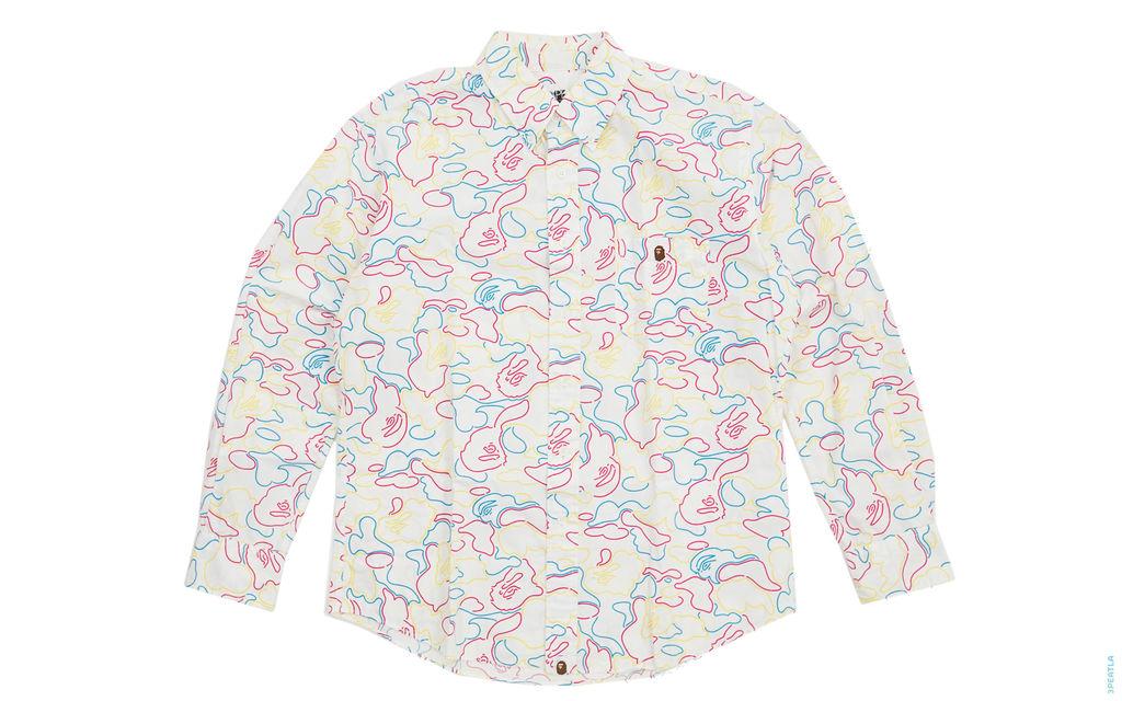 BAPE Neon Camo Button-Up Shirt white