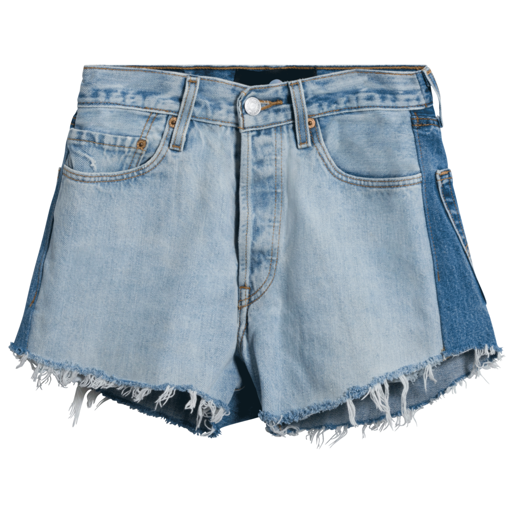 After Party x Nasty Gal Levi's Two-Tone Cut-Off Denim Shorts