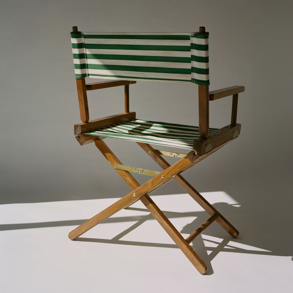 French Stripe Fabric & Wooden Frame Folding Studio Chair