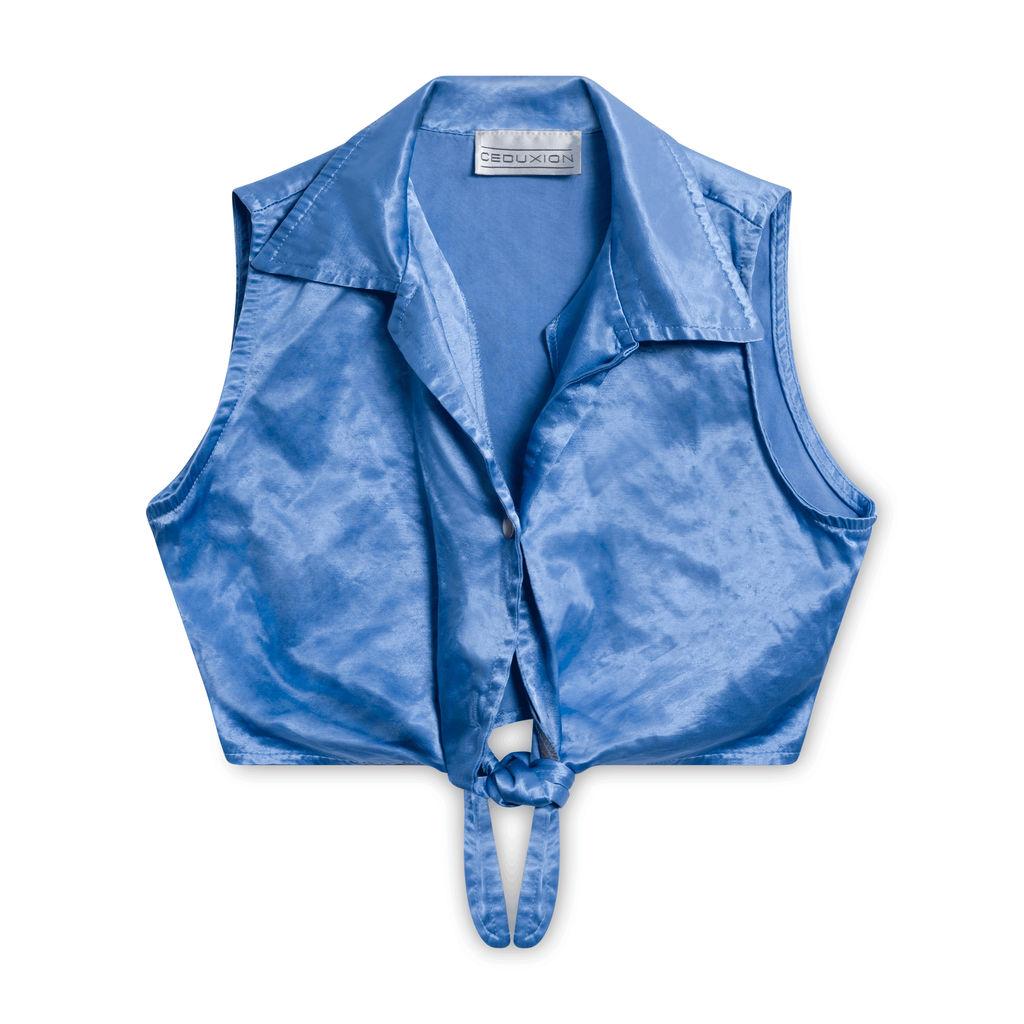 Ceduxion Shimmering Blue Tie Front Top