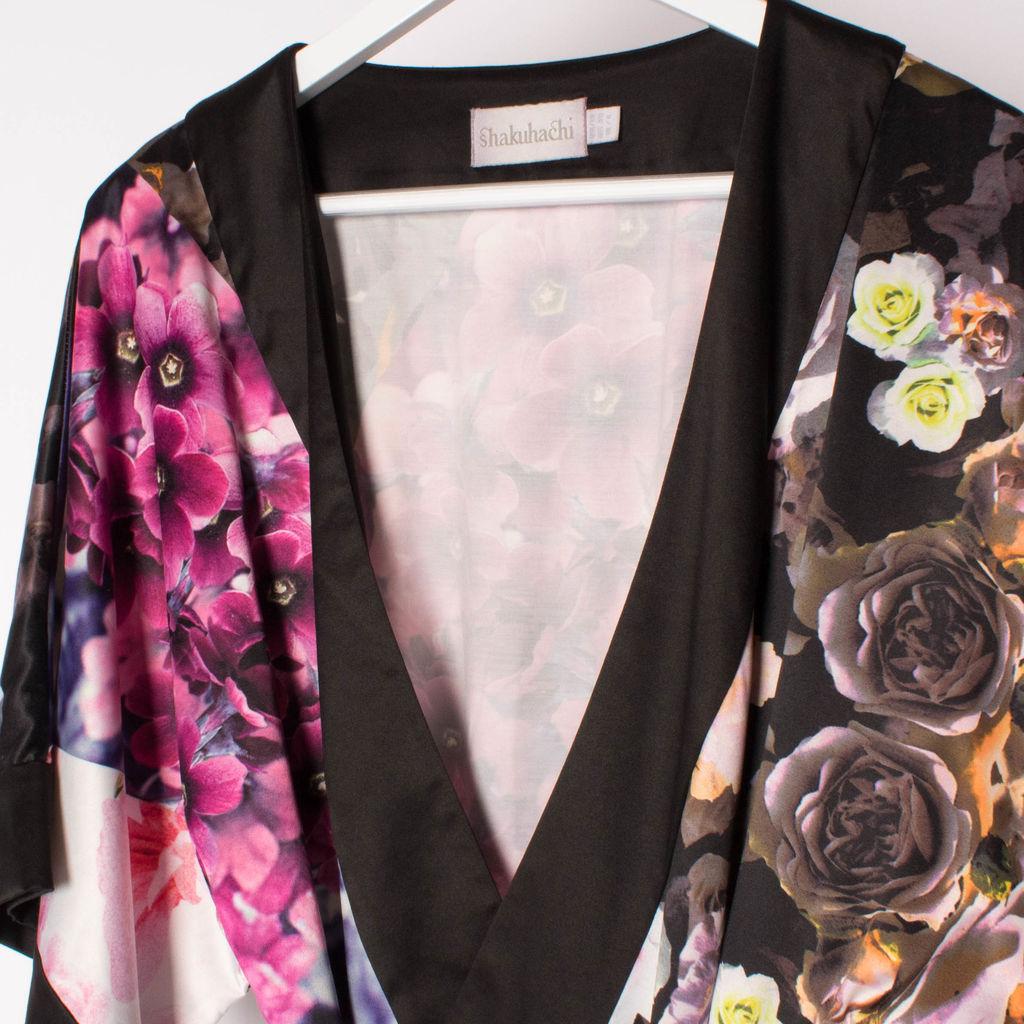 Shakuhachi Flower Bomb Silk Kimono
