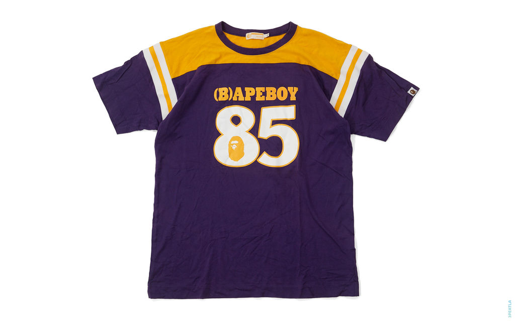 BAPE Bapeboy ASNKA 85 Jersey Tee purple yellow white