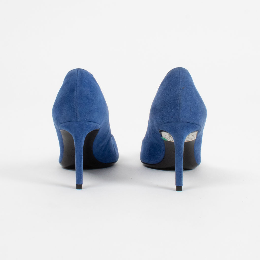 Saint Laurent Blue Suede Clara Pointed Toe Pumps