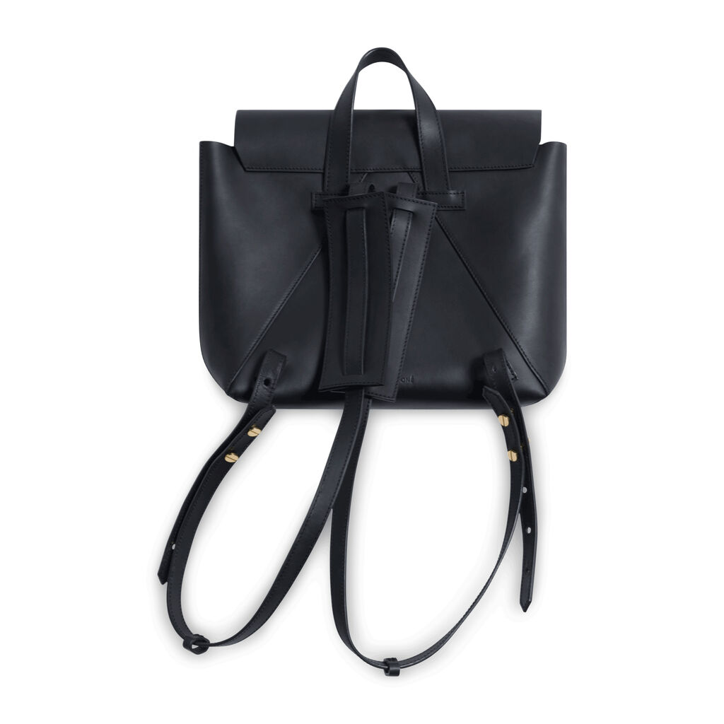 Janessa Leone Leather Backpack Tote - Black