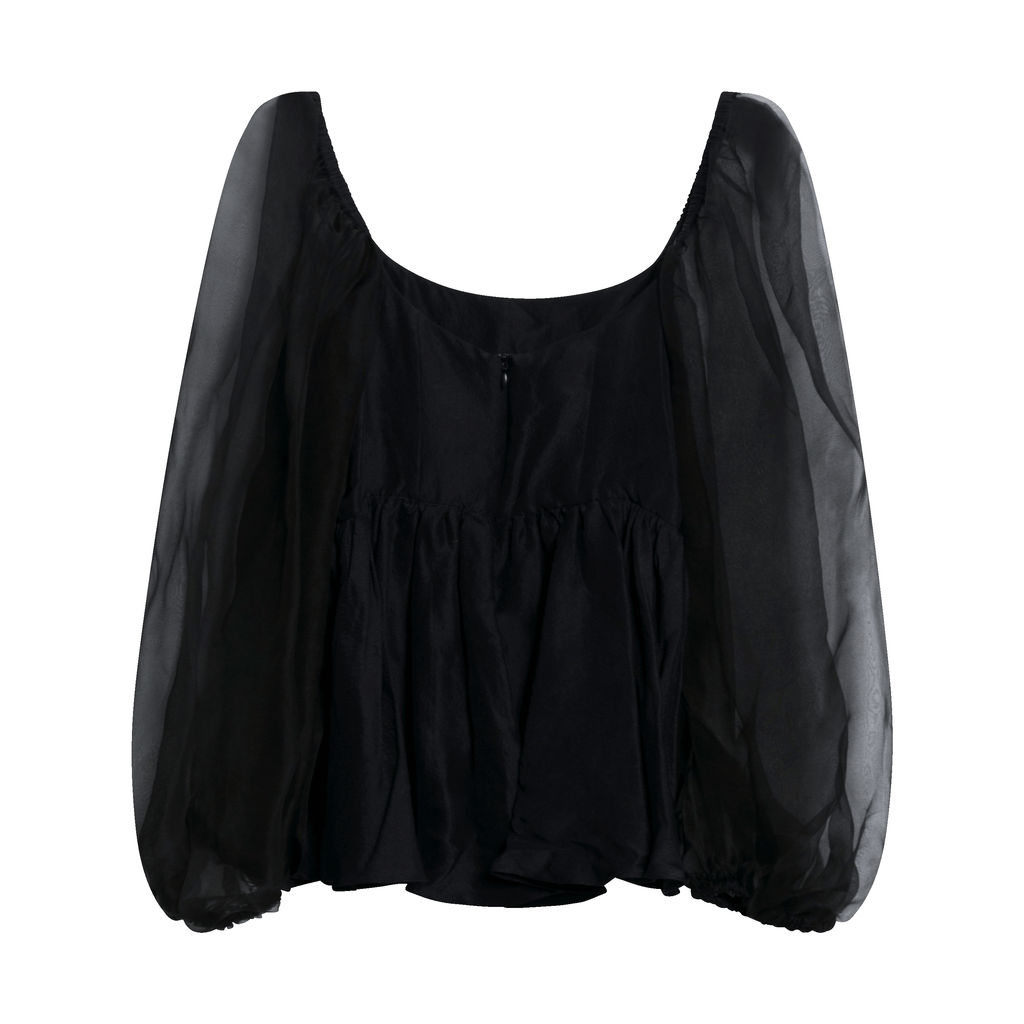 Rhiannon Raw Silk Top - Black