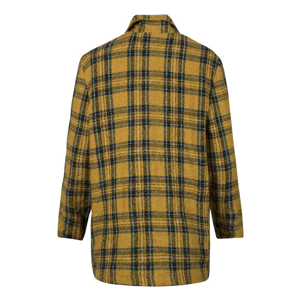 Vintage Yellow Plaid Blazer Coat