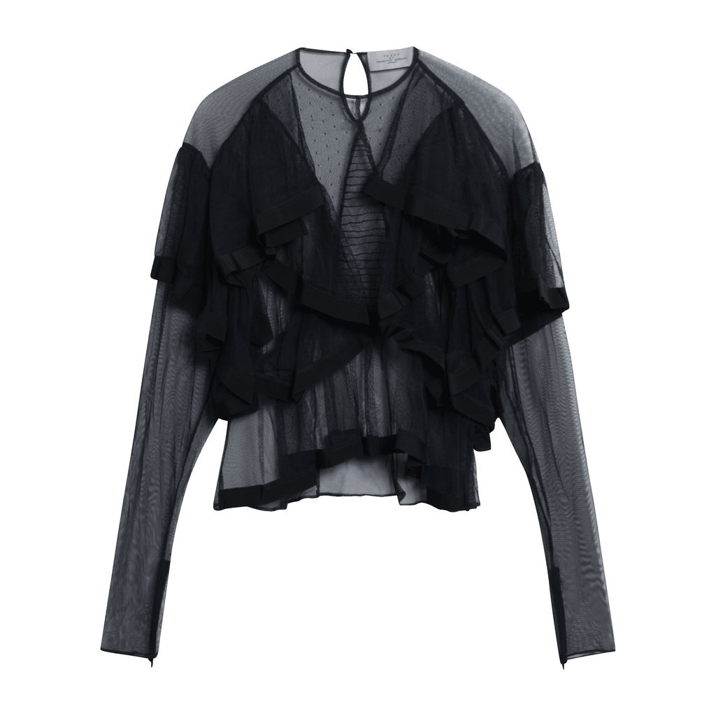 Preen by Thornton Bregazzi Sheer Ruffled Blouse