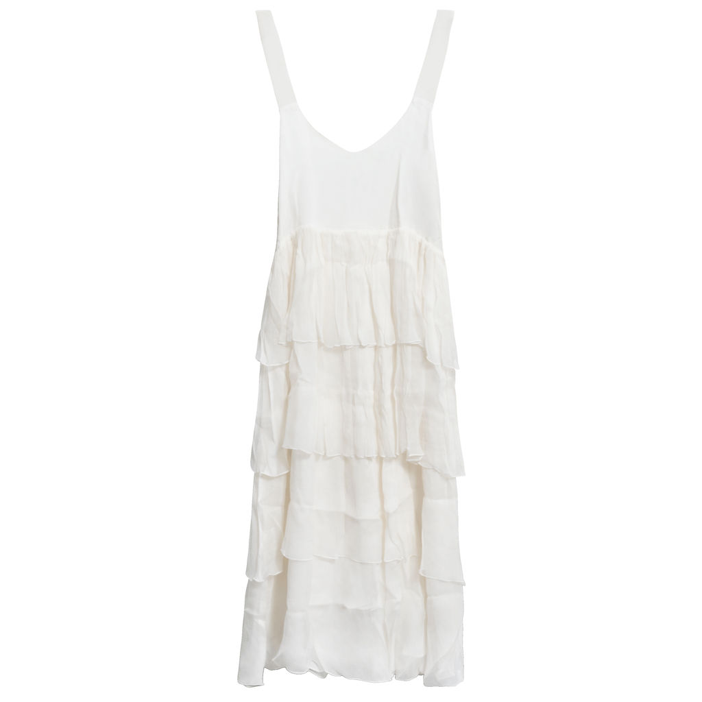 Azeeza Tiered Ruffle Silk Midi Dress
