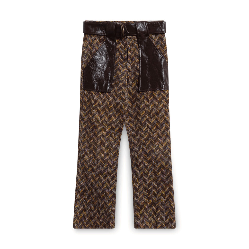 Vintage Corduroy and Leather Chevron Pants