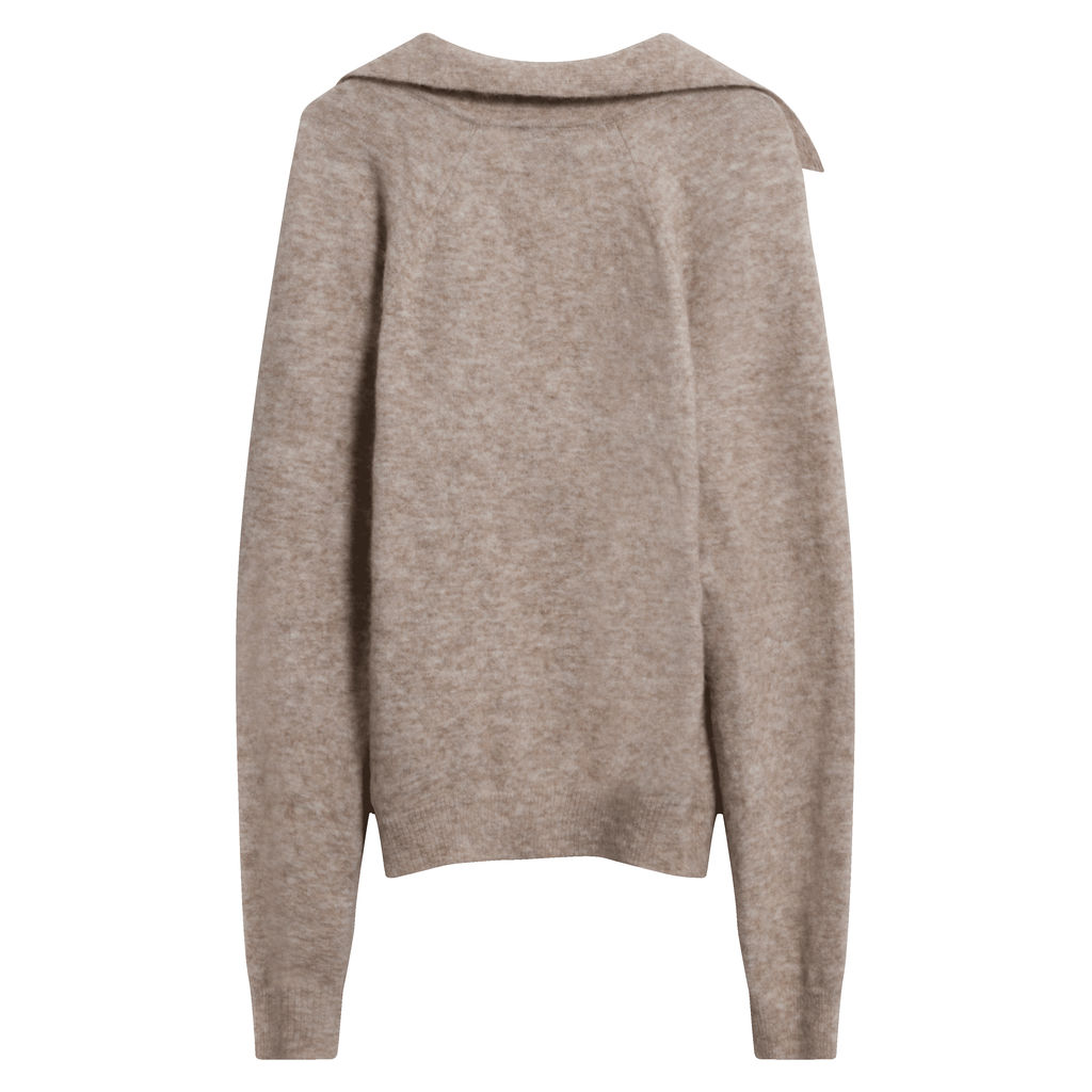 Nanushka Bambi Collared V-Neck Sweater in Beige