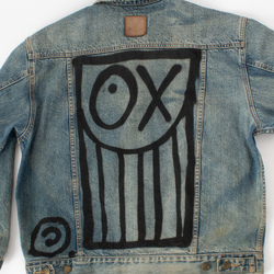 Sami Miro Vintage x André Saraiva Exclusive Denim Jacket With Leather Collar - Custom One of One curated by Sami x André