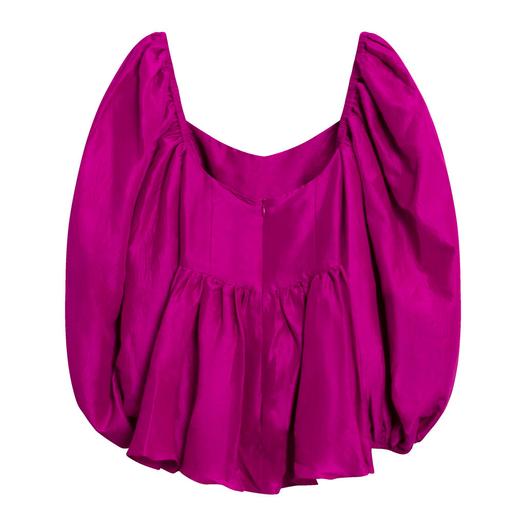 Rhiannon Raw Silk Top - Magenta