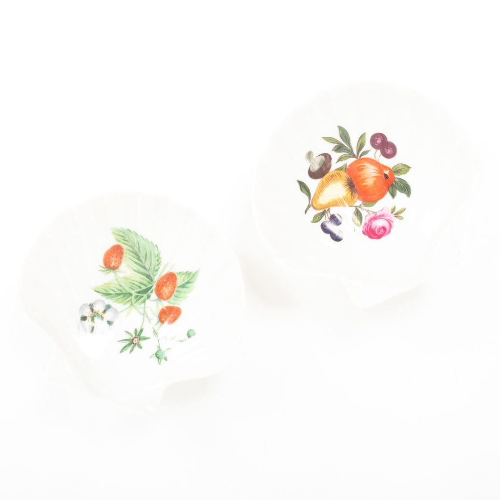 Fruit Printed Shell Catchall Dishes - Set of Two