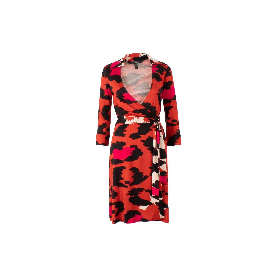 Diane von Furstenberg Abstract Animal Print Wrap Dress
