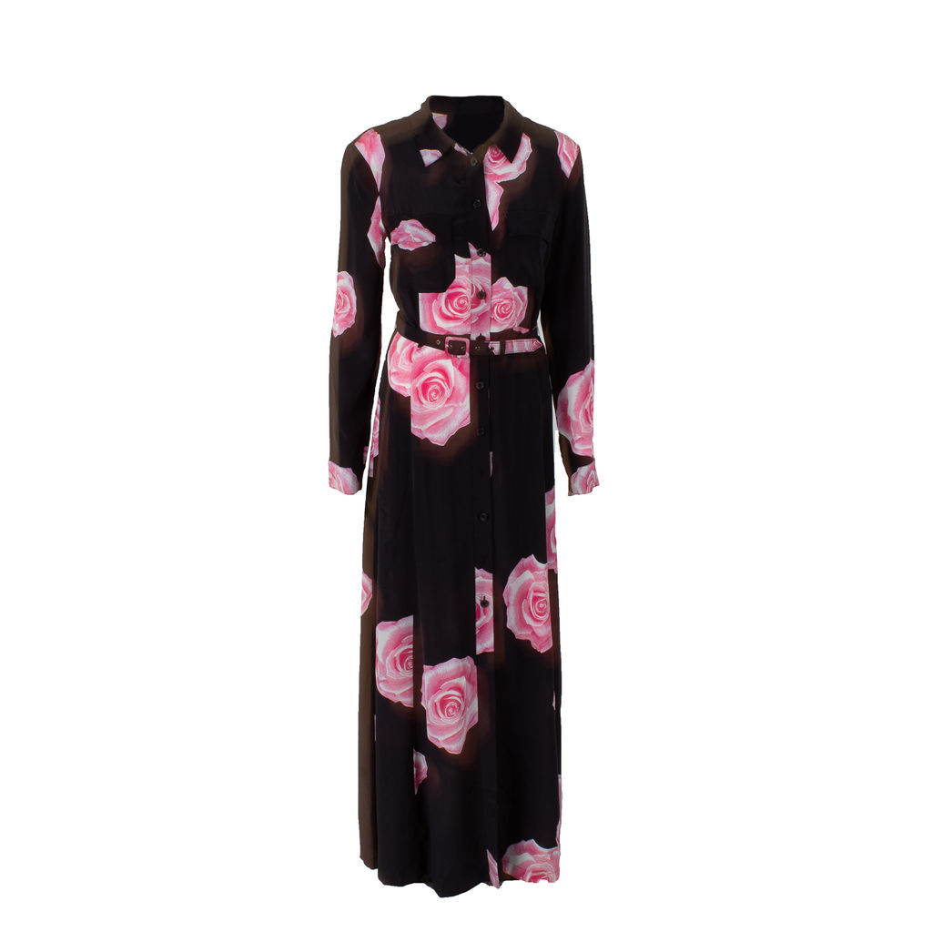 GANNI Belted Shirt Dress With Rose Print