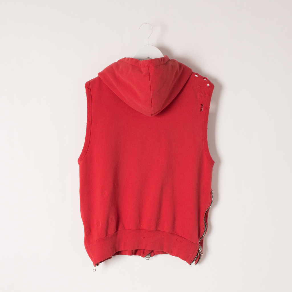 Balmain Sleeveless Hoodie with Moto Zips