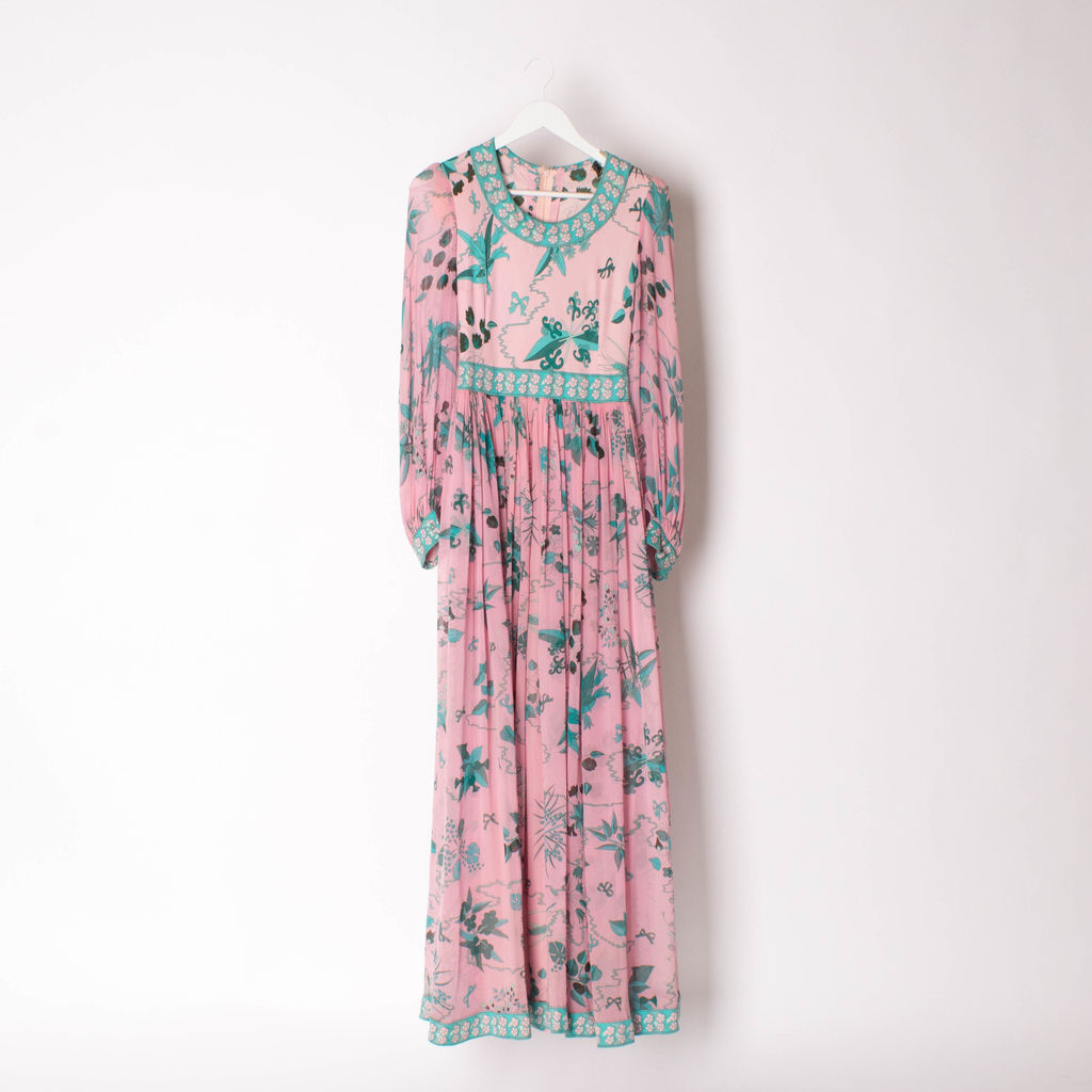 Vintage 70s Silk Averardo Bessi Maxi Dress