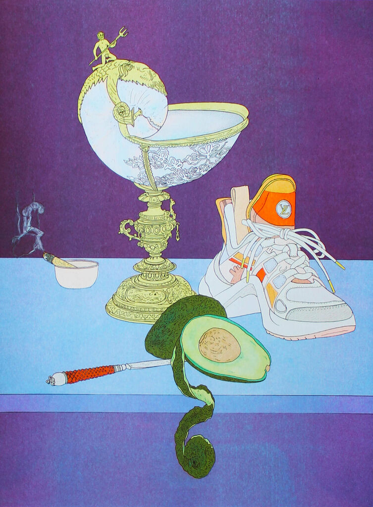"""Scott Young, """"Still Life with Avocado and Nautilus Cup,"""" 2020"""
