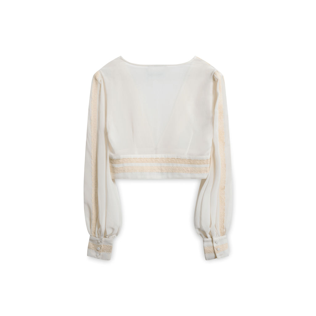 Vintage Nasty Gal Top with Lace Trim - White