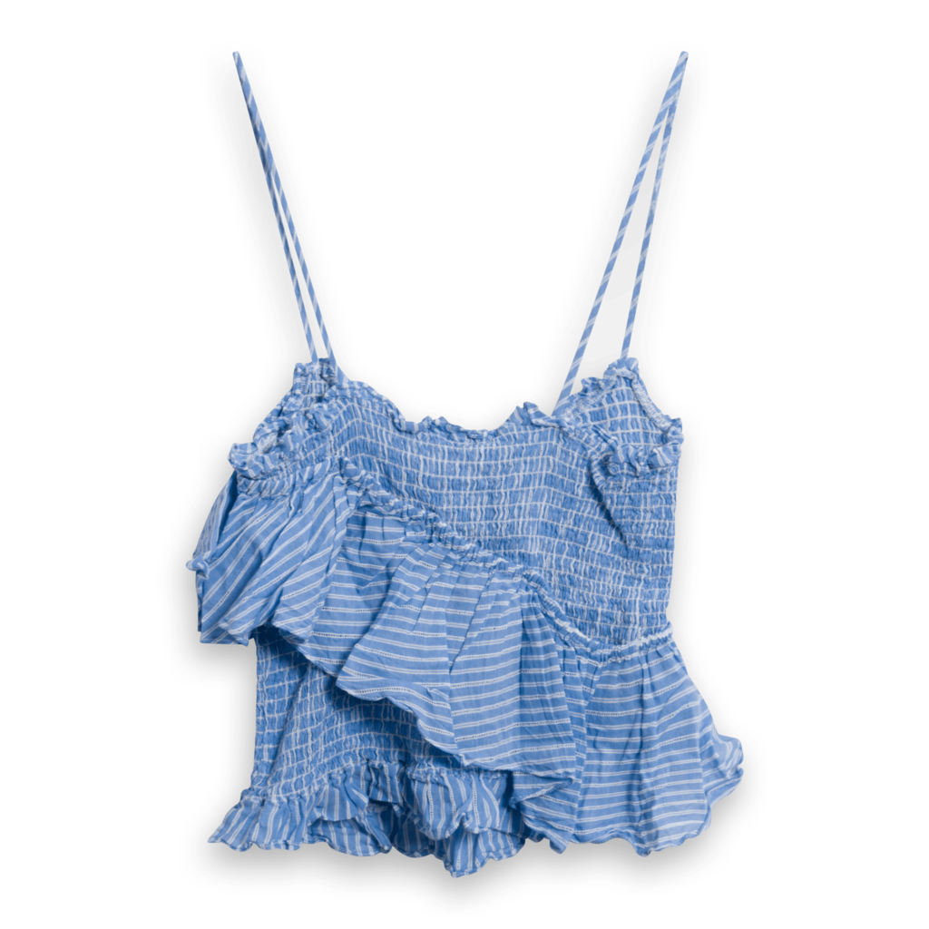 cinq a sept Smocked Ruffle Crop Top