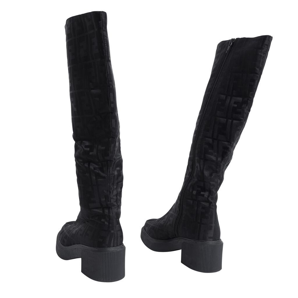 Fendi Embossed Knee-High Boots