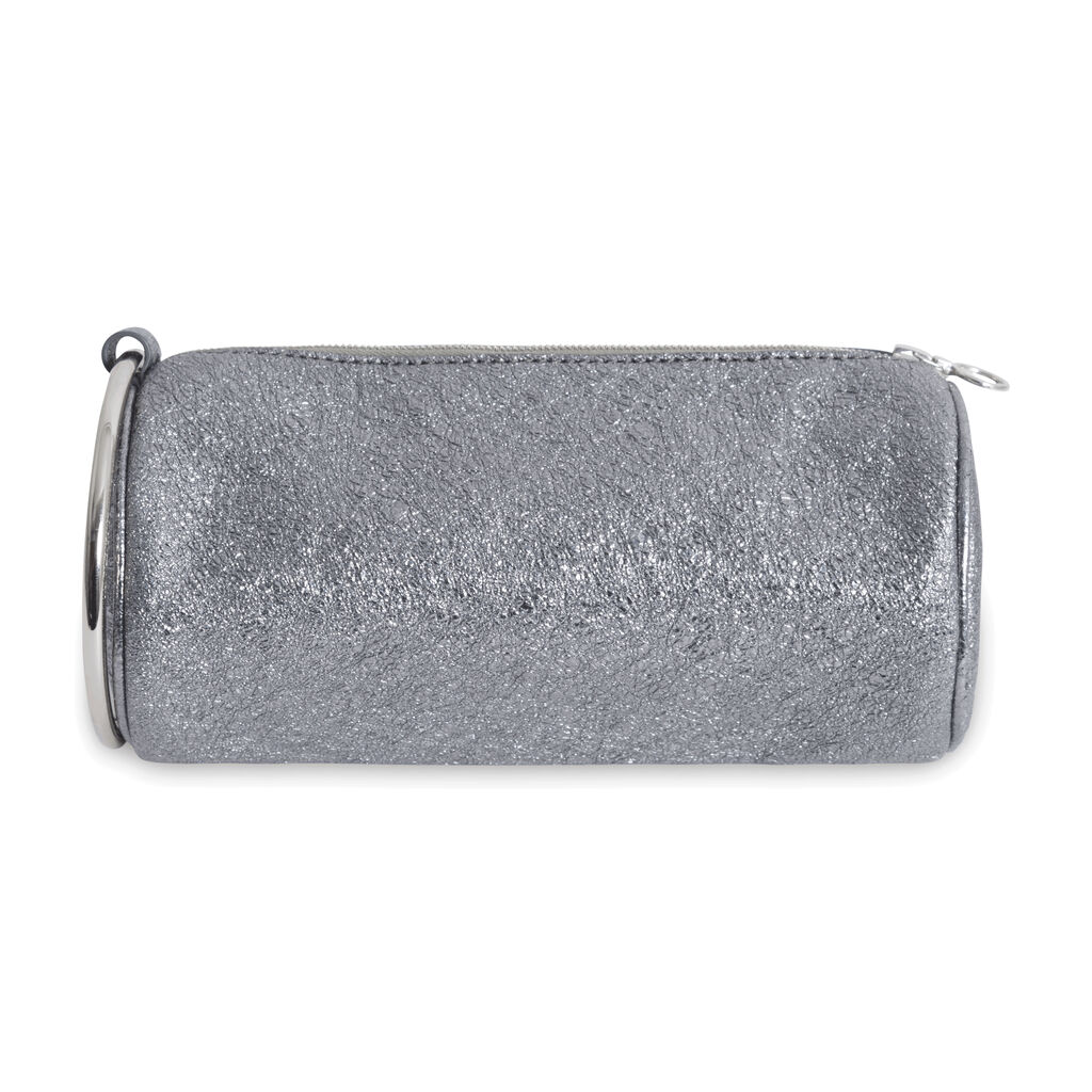 Kara Silver Glittered Clutch with Ring