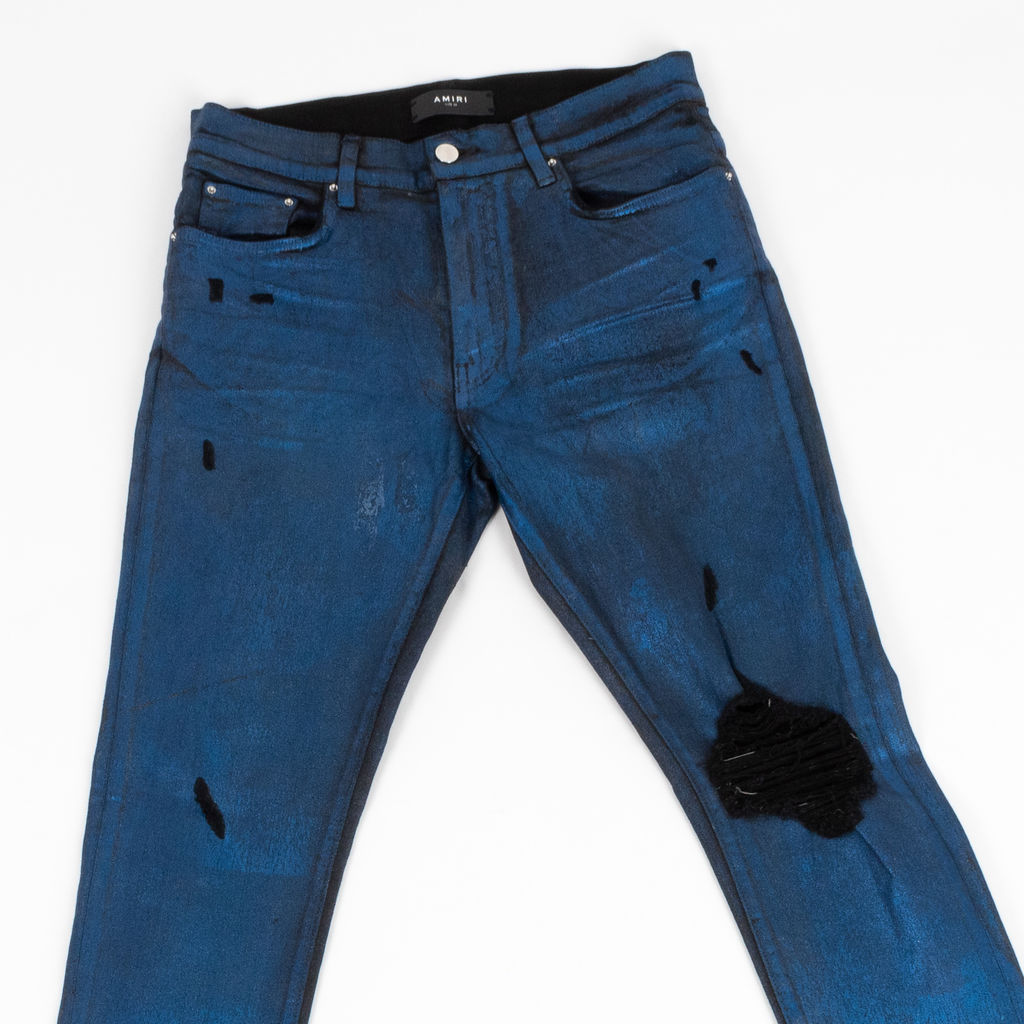 Amiri Distressed Foil Broken Jeans