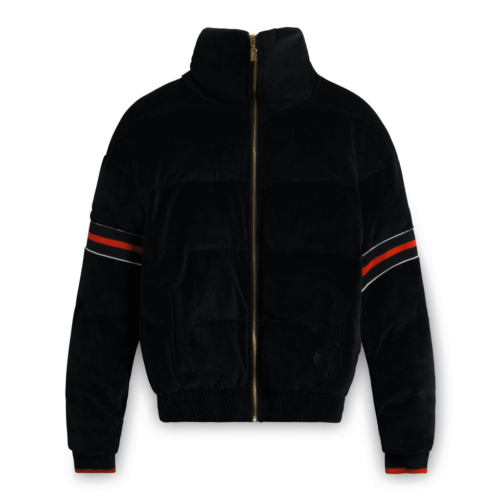 PE Nation Cover Back Velour Puffer Jacket in Black