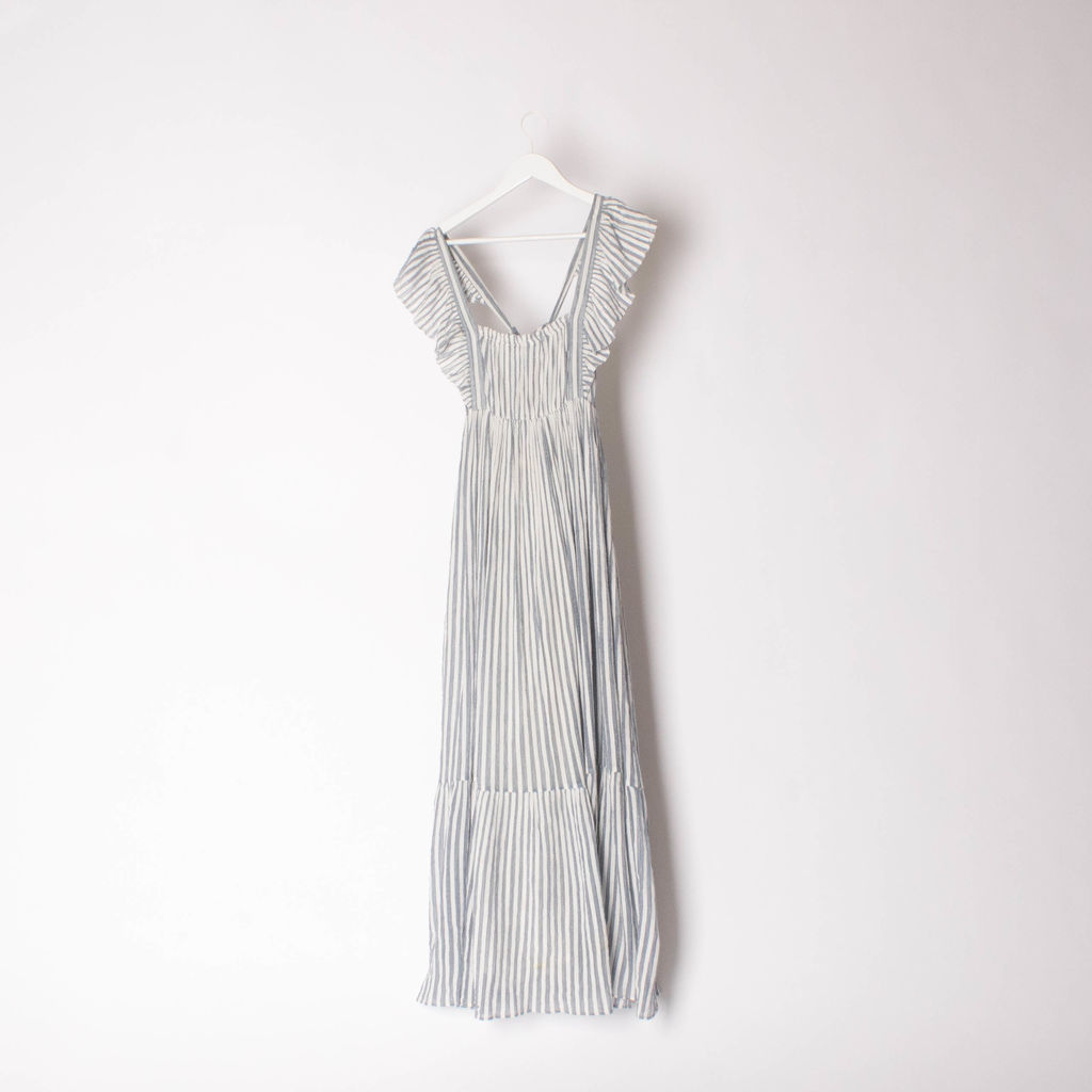 ULLA JOHNSON Arian Striped Cotton Maxi Dress